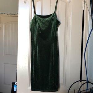 Strappy Green Velvet Dress